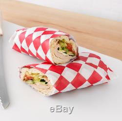 15 x 15 Red Check Deli Coated Sandwich Wrap Paper Grease Resistant 4000 Case