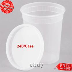 (240-CASE) 32 oz. HD Microwavable Clear Round Plastic Deli Food Container with Lid