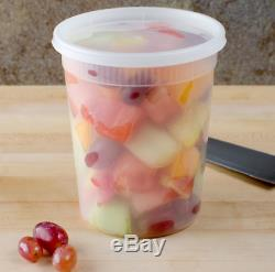 240 Case 32 Oz Translucent Round Deli Container Combo Pack Polypropylene Round