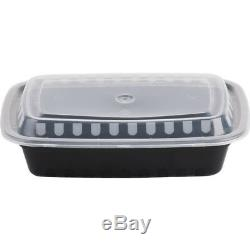 450 CASE 24 Oz BLACK Take Out Microwavable Food Lunch Deli Container Lid Plastic