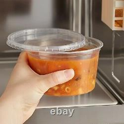 750/Case 16 oz. Microwavable Clear Round Plastic Deli Food Storage Container Lid