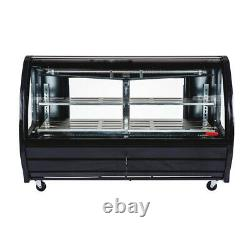 Black Color Refrigerated Deli Display Case 56 Double Pane Side Window LED Light