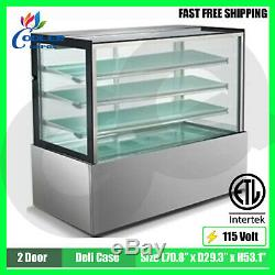 Deli Case Refrigerated Bakery Display Show Case Commercial Glass 72 NSF ETL NEW