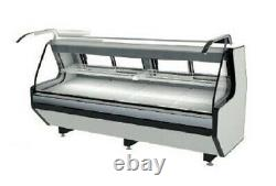 LED Lighting White Red Meat Lift Glass Deli Case Stainless Steel Top Two Shelve