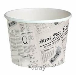 PacknWood Round Newspaper Print Paper Deli Container 24 oz Capacity Case of 500