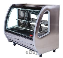 Refrigerated Deli Display Case Stainless Steel Color Shelving Curve Front Glass