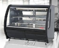Torrey 56 Curved Glass Black Deli Bakery Display Case Refrigerated Casters