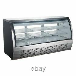 Universal FCI-82-SC 80 Refrigerated Deli Meat Display Case, Curved Glass, Stain