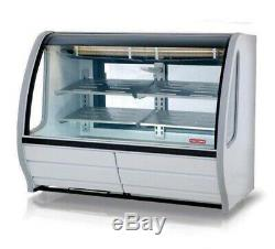 White Refrigerated 56 Deli Display Case Stainless Steel Shelving Curve Glass